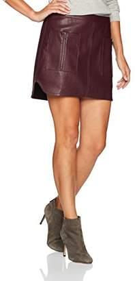 BCBGMAXAZRIA Women's Sabina Knit Faux Leather Skirt, L