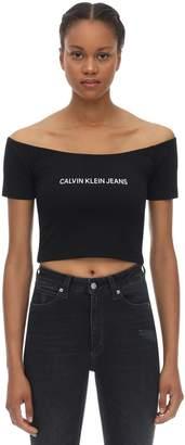 Calvin Klein Jeans LOGO OFF-THE-SHOULDER STRETCH COTTON TOP
