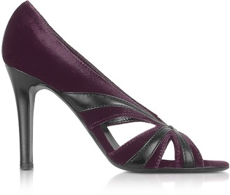 Liz Carine Purple Velvet and Leather Cut-out Evening Sandal Shoes