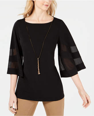JM Collection Wide-Sleeve Mesh-Inset Top