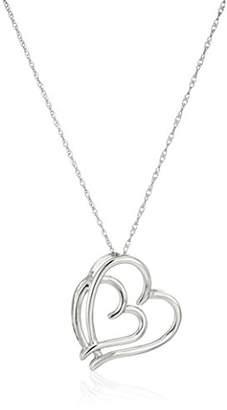 10k Gold Plain Double Heart Pendant Necklace