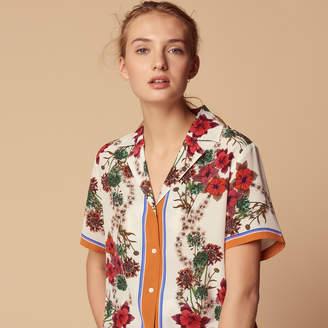 Sandro 100% silk shirt with floral print