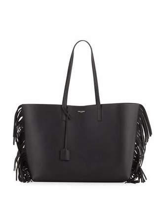 Saint Laurent Large Calfskin Fringe Shopping Tote Bag, Black $1,150 thestylecure.com
