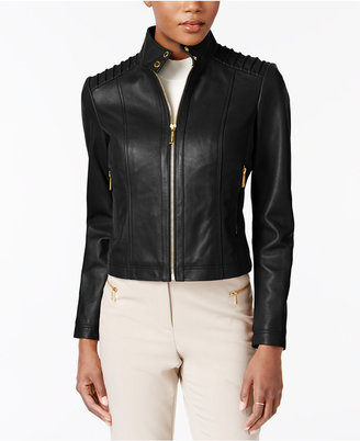 MICHAEL Michael Kors Stand-Collar Leather Jacket $420 thestylecure.com