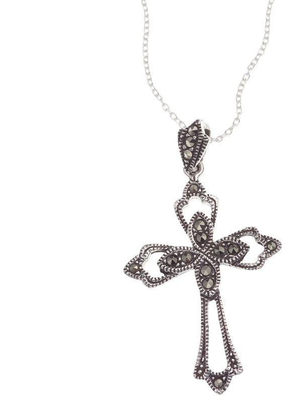 Sterling silver large marcasite cross pendant