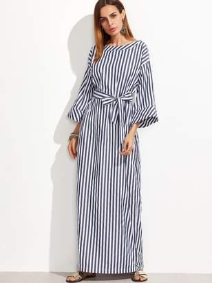 0b19e7ff739 Shein Striped Self Tie Roll Cuff Maxi Dress