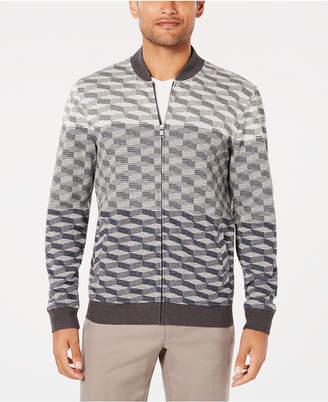 Alfani Men Ombre Geometric Jacquard Knit Bomber Jacket