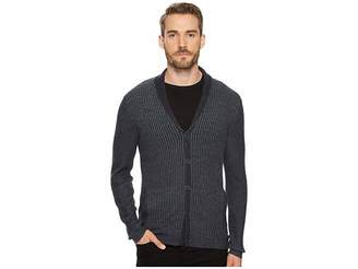 John Varvatos Waffle Knit Shawl Collar Cardigan Men's Sweater