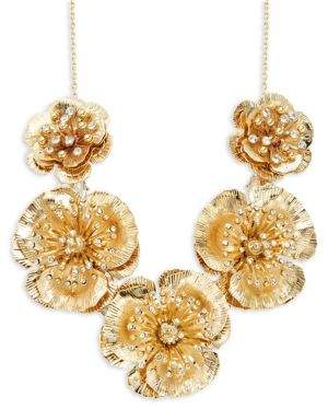 Miriam Haskell Vintage Floral Crystal Frontal Necklace