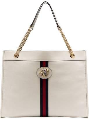 9db117b4705 Gucci white Rajah tiger-embellished leather tote bag