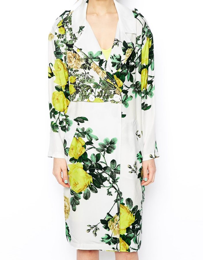 Asos SALON Soft Trench In Botanical Print