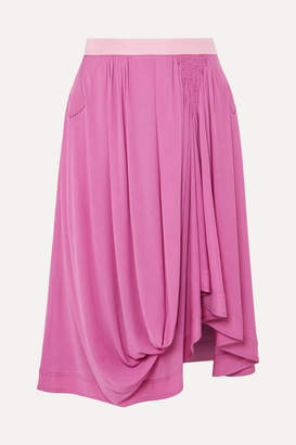 Chloé Asymmetric Satin-jersey Midi Skirt - Violet