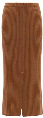 Allude Split Front Ribbed Cashmere Midi Skirt - Womens - Beige