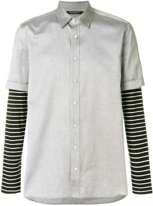 Neil Barrett striped sleeve layered shirt