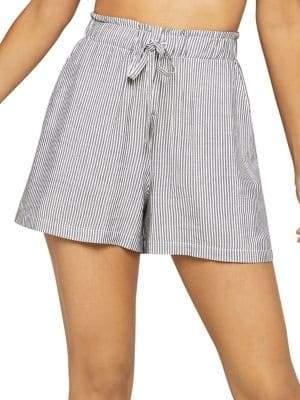 BCBGeneration Striped Paperbag-Waist Shorts
