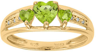 JCPenney FINE JEWELRY Genuine Peridot and Diamond-Accent 3-Stone Heart Ring
