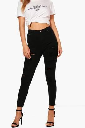 boohoo High Rise Heavy Ripped Skinny Jeans