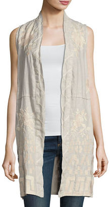 JWLA For Johnny Was Letty Linen Embroidered Long Vest, Plus Size $290 thestylecure.com