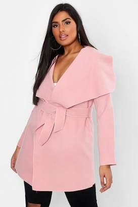 boohoo Plus Wool Waterfall Belted Coat