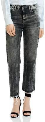 Maje Paola Acid Washed Cropped Frayed Jeans