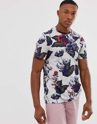 Ted Baker t-shirt with large floral print in grey