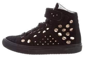 Pierre Hardy Suede High-Top Sneakers Black Suede High-Top Sneakers
