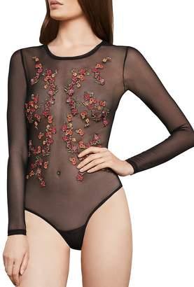 BCBGMAXAZRIA Sheer Embroidered Mesh Bodysuit