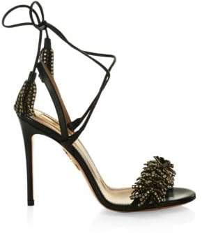 Aquazzura Wild Crystal Leather Tied Strap Sandals