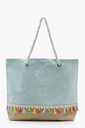 boohoo Tassel Trim Rope Handle Beach Bag