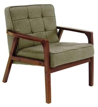 DecMode Decmode Modern Wood and Fabric Armchair, Green