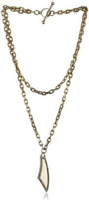 """Paige Novick Gotham"""" Layered Chain and Ivory Enamel Pendant Necklace"""