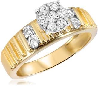 My Trio Rings 1/2 CT. T.W. Diamond Ladies Engagement Ring 14K Yellow Gold- Size 11.25