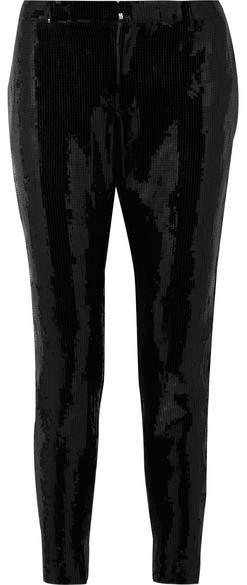 Saint Laurent - Sequined Crepe Skinny Pants - Black