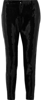 Saint Laurent Sequined Crepe Skinny Pants - Black