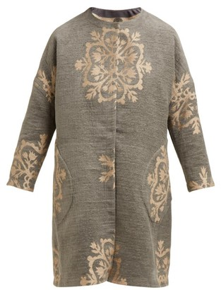 Märit Ilison - Reversible Single Breasted Floral Intarsia Coat - Womens - Grey Multi