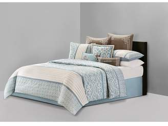 Natori N Fretwork Aqua Comforter Set