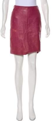 Burberry Leather Knee-Length Skirt