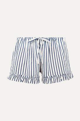 Pour Les Femmes - Ruffled Striped Cotton Pajama Shorts - Navy