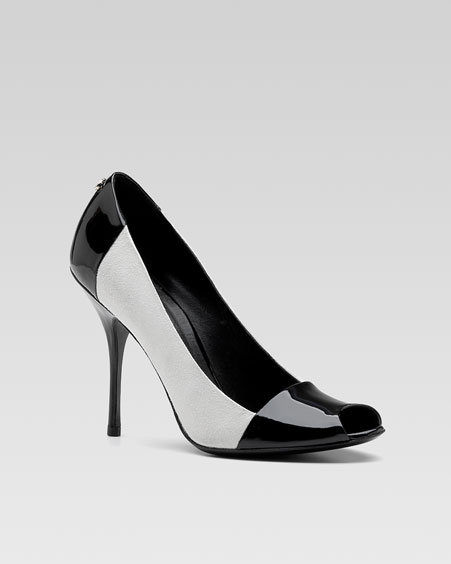 Gucci Bacall High-Heel Sandal, Black/White