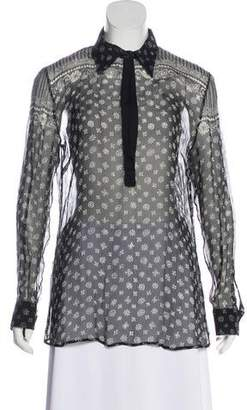 Dolce & Gabbana Semi-Sheer Floral Print Blouse