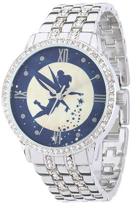 Disney Tinker Bell Womens Crystal-Accent Silver-Tone Bracelet Watch