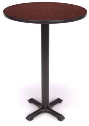"OFM Model XTC24RD 24"" Multi-Purpose Cafe Height Round Table with X-Style Pedestal Base, Mahogany"