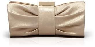 Sondra Roberts Metallic Pleated Bow Clutch
