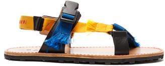Marni Fringed Canvas Sandals - Mens - Black Blue