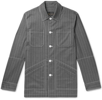 Versace Pinstriped Virgin Wool Shirt Jacket