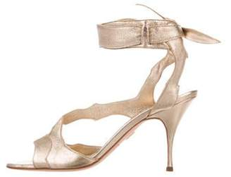 Brian Atwood Metallic Ankle Strap Sandals Gold Metallic Ankle Strap Sandals