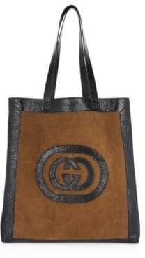 Gucci Suede Medium Logo Tote