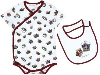 Dolce & Gabbana Baby printed cotton playsuit and bib set