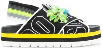 MSGM logo embellished sandals