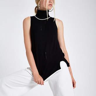 River Island Black knit roll neck sleeveless sweater